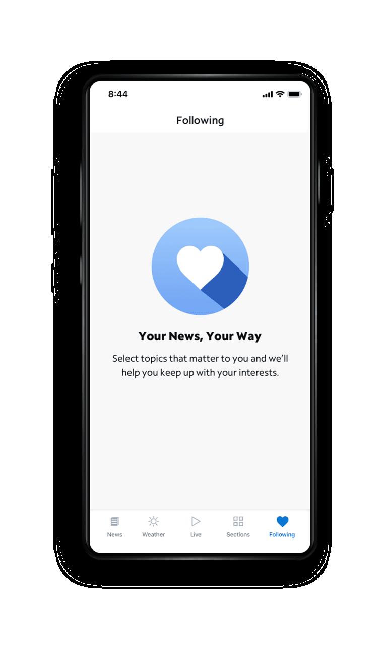 Spectrum News App - Following Screen