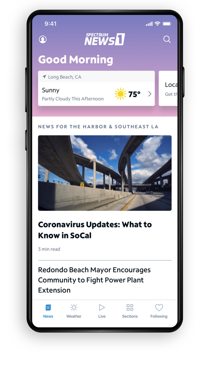 Spectrum News App - Home Screen