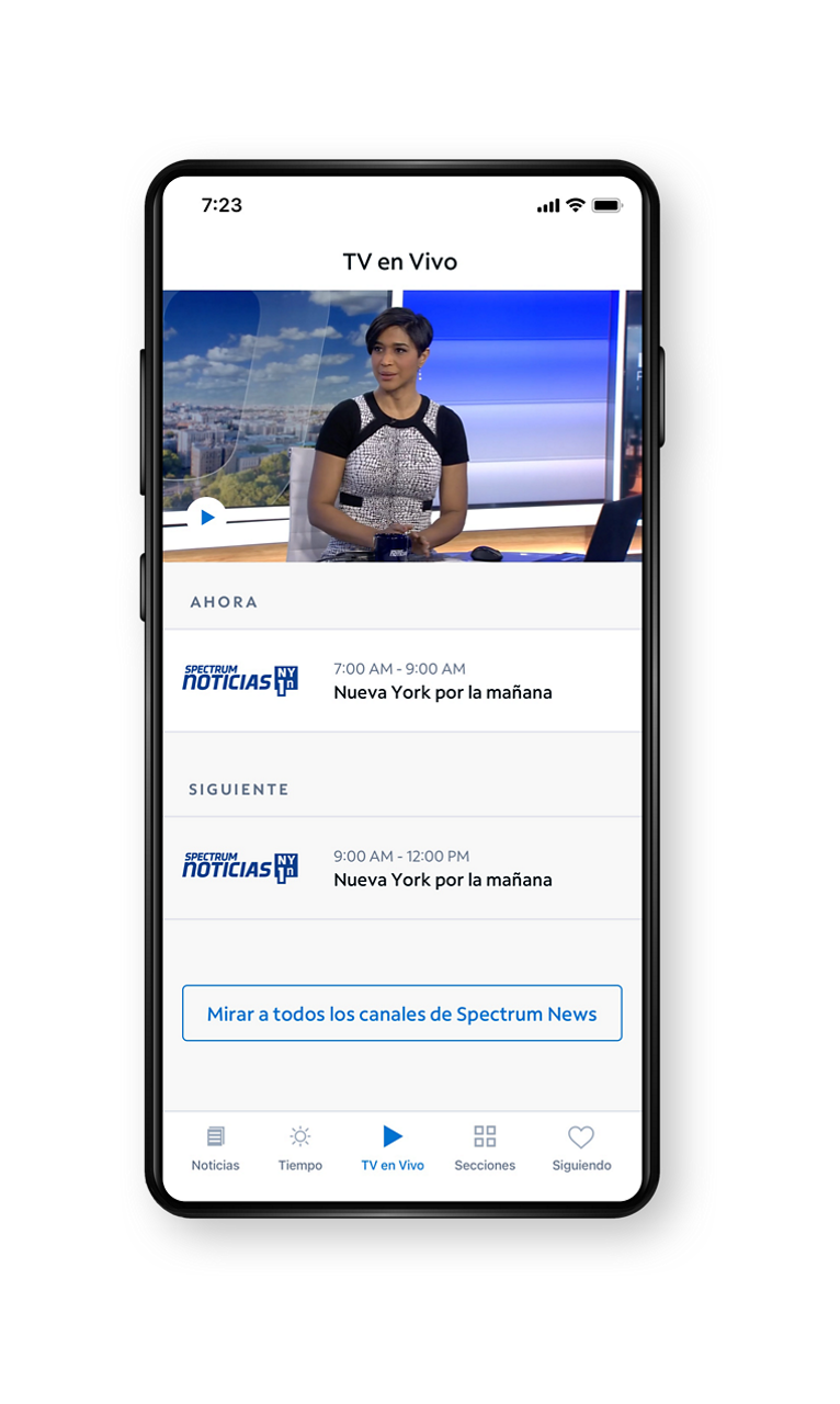Spectrum News App - Live TV Screen