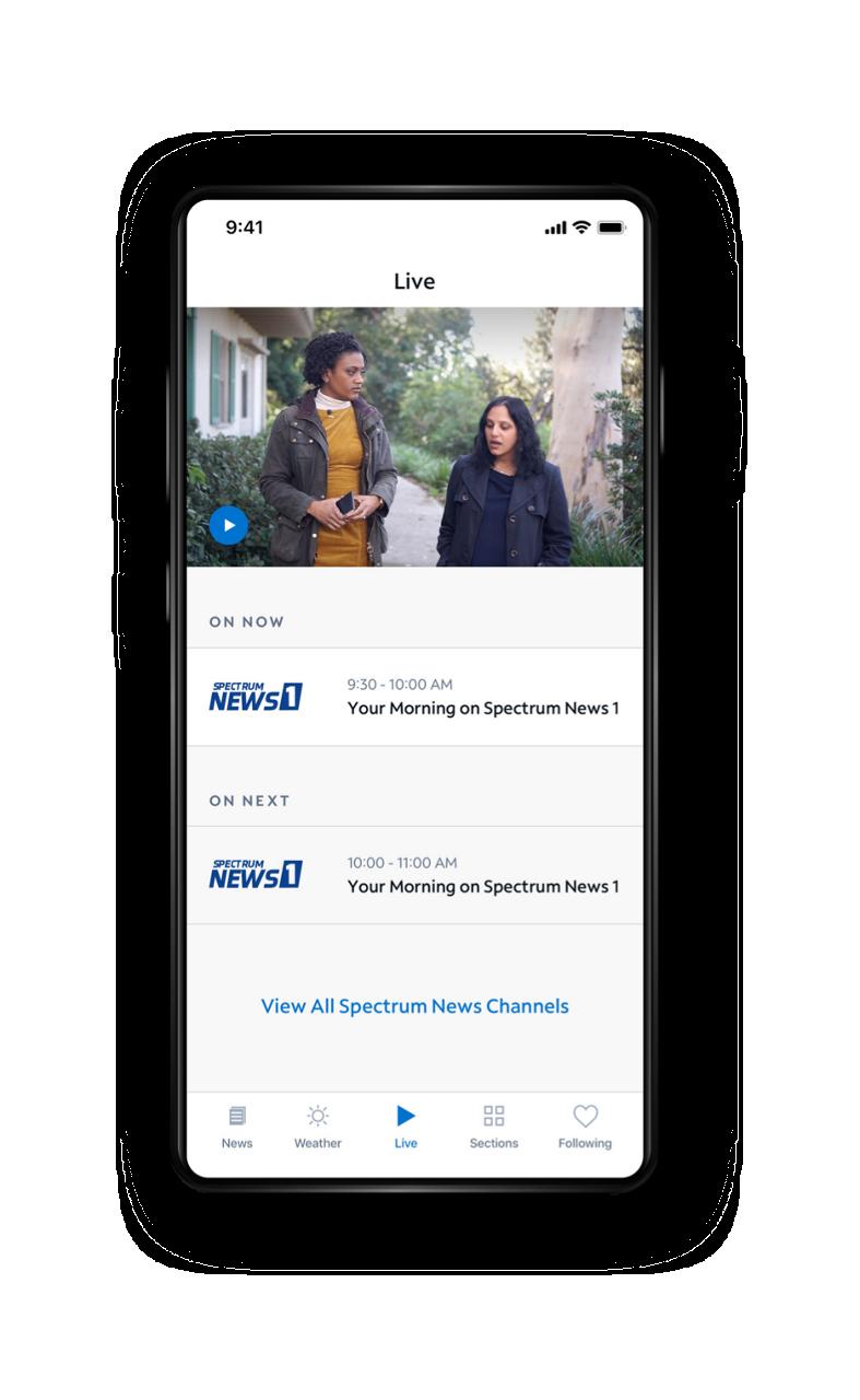 Spectrum News App - Live TV Screen