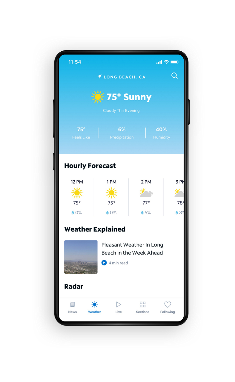 Spectrum News App - Weather Screen